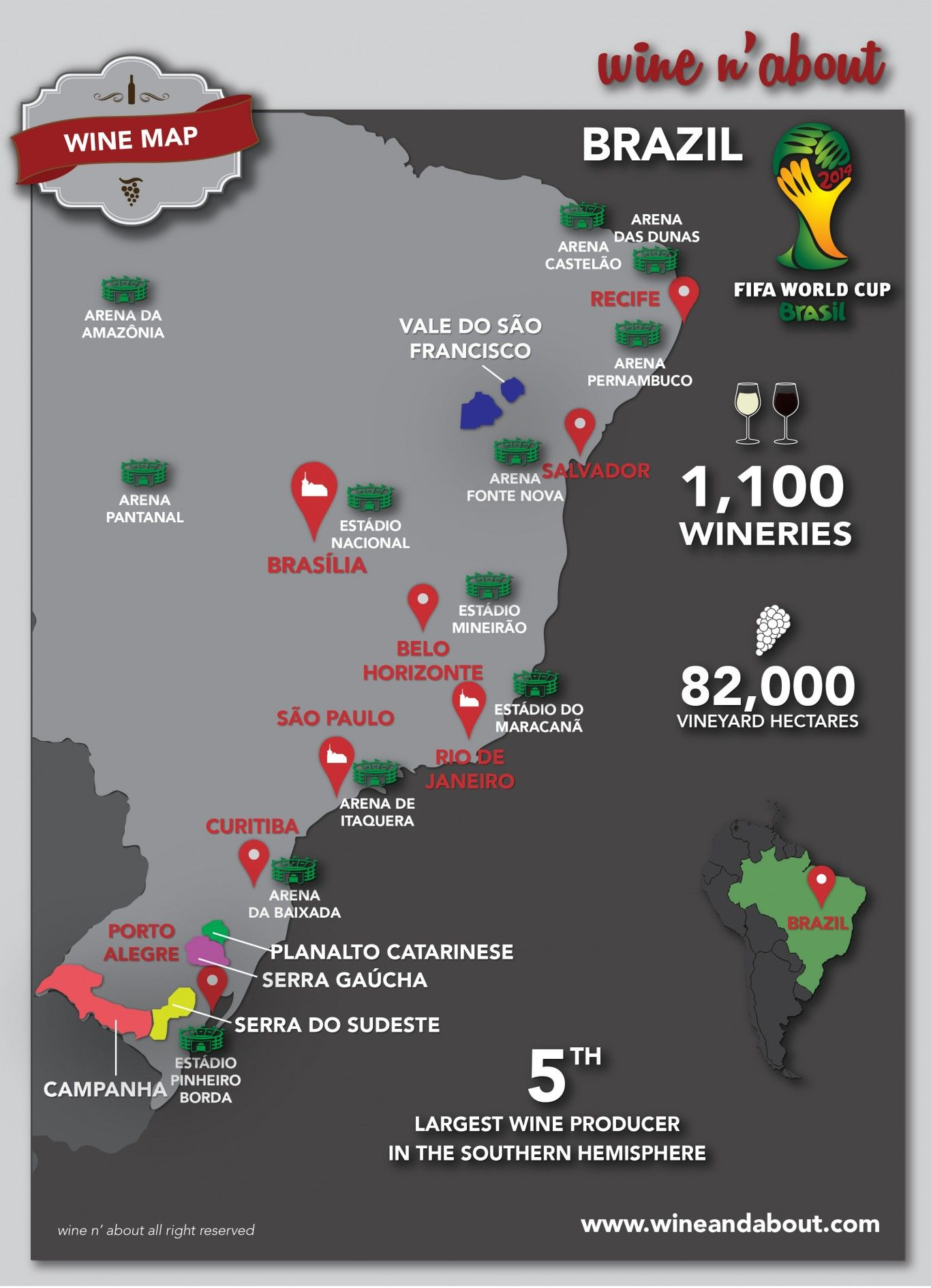 Highlighted the main wine regions the main cities and the stadiums highlighted the main wine regions the main cities and the stadiums of the fifa world cup 2014 gumiabroncs Image collections