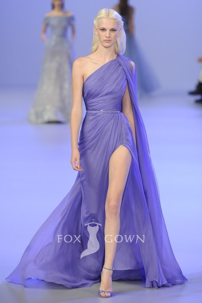 lilac one shoulder pleated chiffon a-line evening gown | Evening ...