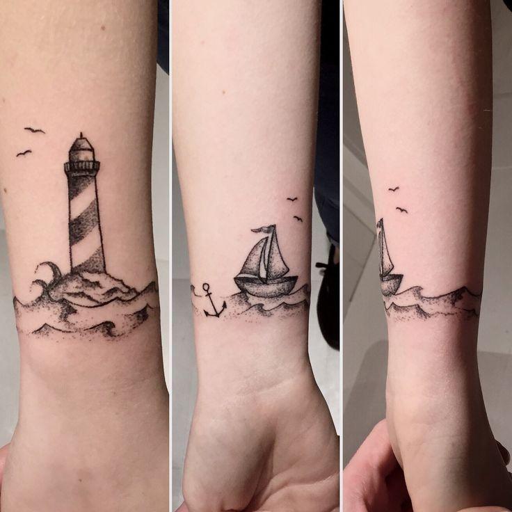 Leuchtturm. Armband-Tätowierung. Handgefertigt von Kokosmaedchen   #tattoos
