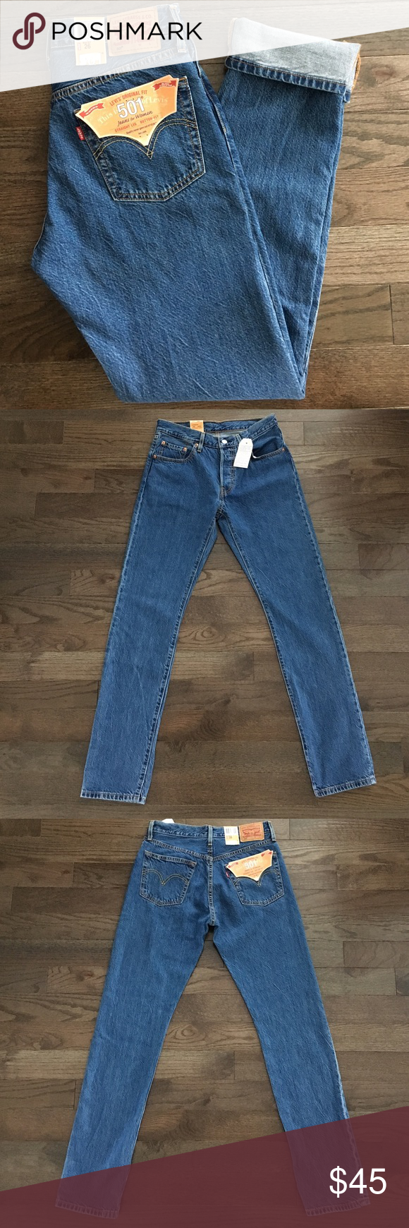 5b0b942c123 Levi's 501 Original Fit Button Fly Straight Leg 26 Levi's Original Fit 501  jeans for women. New with tags. W26xL32. Button Fly. Straight Leg. . Medium  wash.