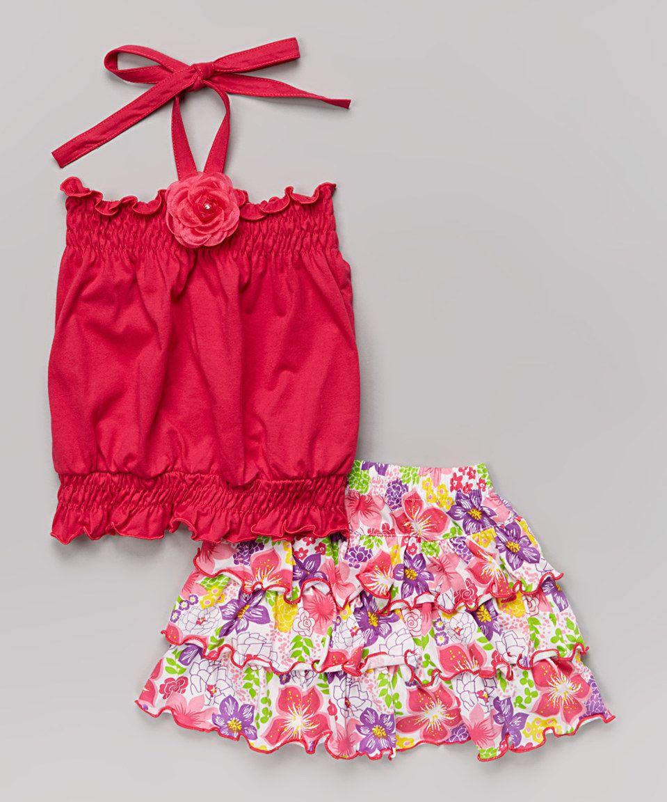 Look at this #zulilyfind! Fuchsia Halter Top & Floral Skirt - Toddler & Girls by Littoe Potatoes #zulilyfinds