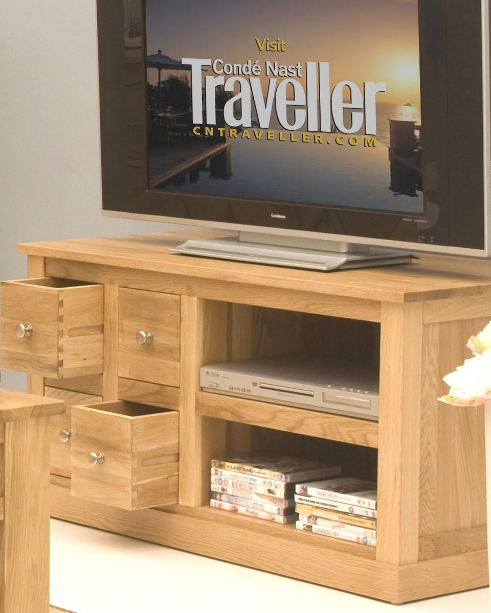 four drawer solid oak television cabinet you will love the clean lines and rich finish of this solid oak television cabinet oak with its warm