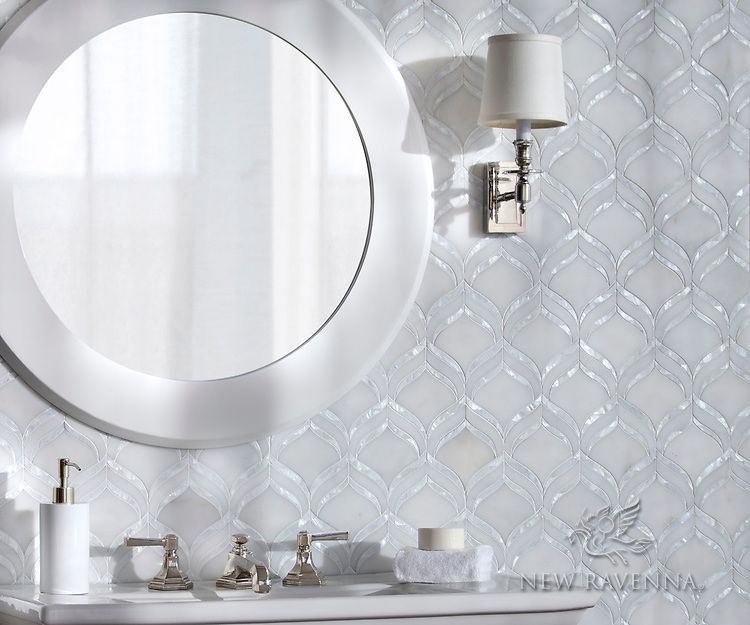 White Brick Baldwin Park S Design: Adonis, A Waterjet Mosaic Shown In Honed Afyon White And