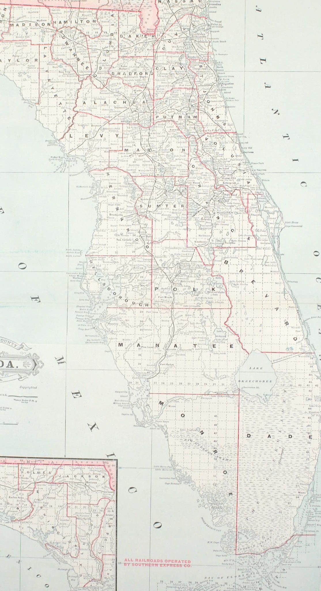 Florida Railroad Map.1887 Railroad And County Map Of Florida Products