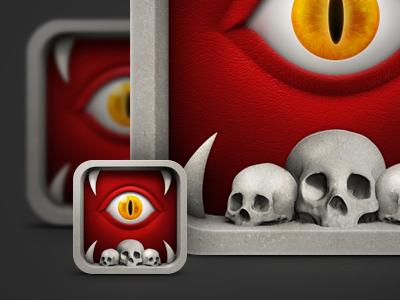 super scary iphone icon with spooky red look. creative