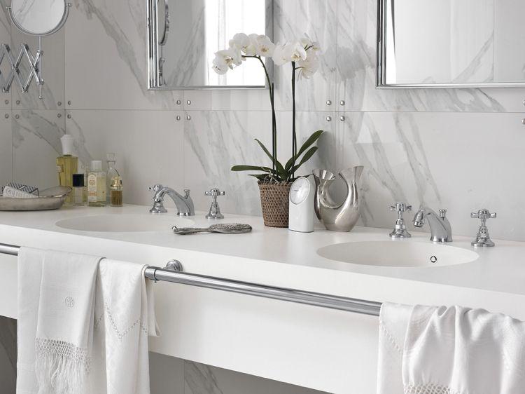 design handwaschbecken badezimmer weiss marmor armatur chrome - bild für badezimmer