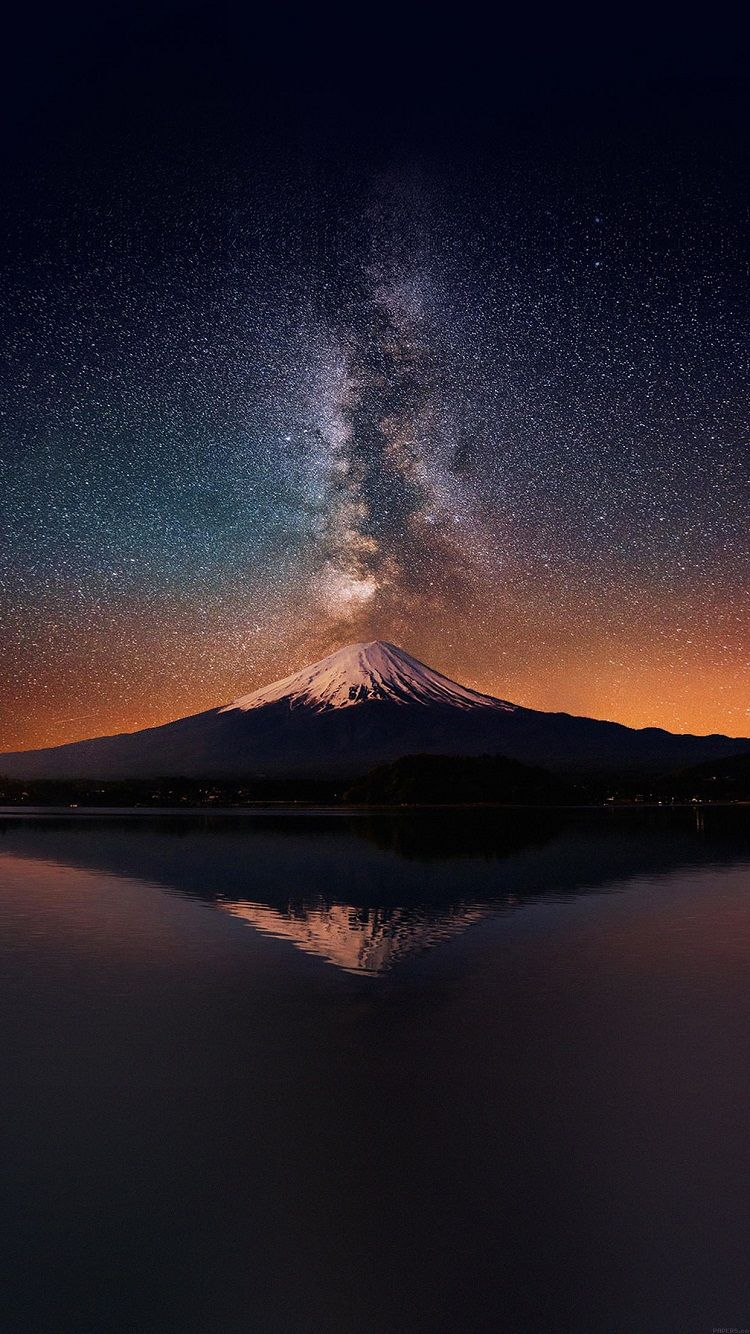 Milky Way Mount Fuji In 2019 Mountain Wallpaper Iphone 6