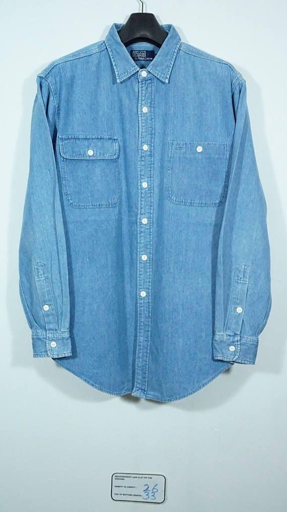 59bd447942a Vintage 90s polo ralph lauren Utility Work Denim shirt Size Large L   Polo  ralph lauren denim