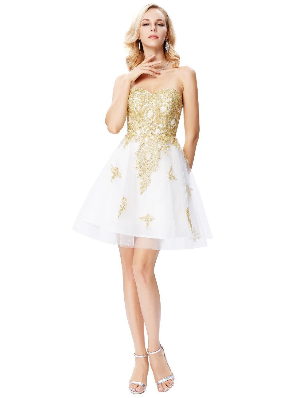 1c58116eb23 Golden Appliques White Sweetheart Knee Length Short Prom Dress -  Uniqistic.com
