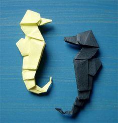 origamipage - seepferdchen | seepferdchen, geldschein origami, basteln mit papier origami