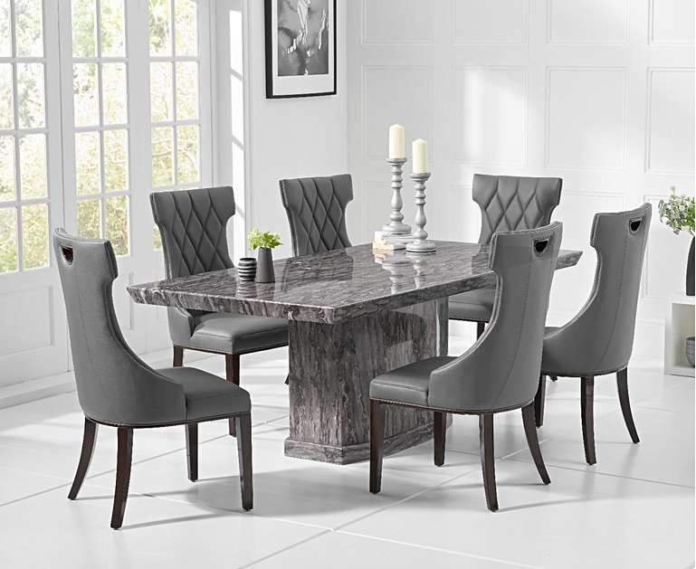 Carvelle 160cm Dark Grey Pedestal Marble Dining Table With