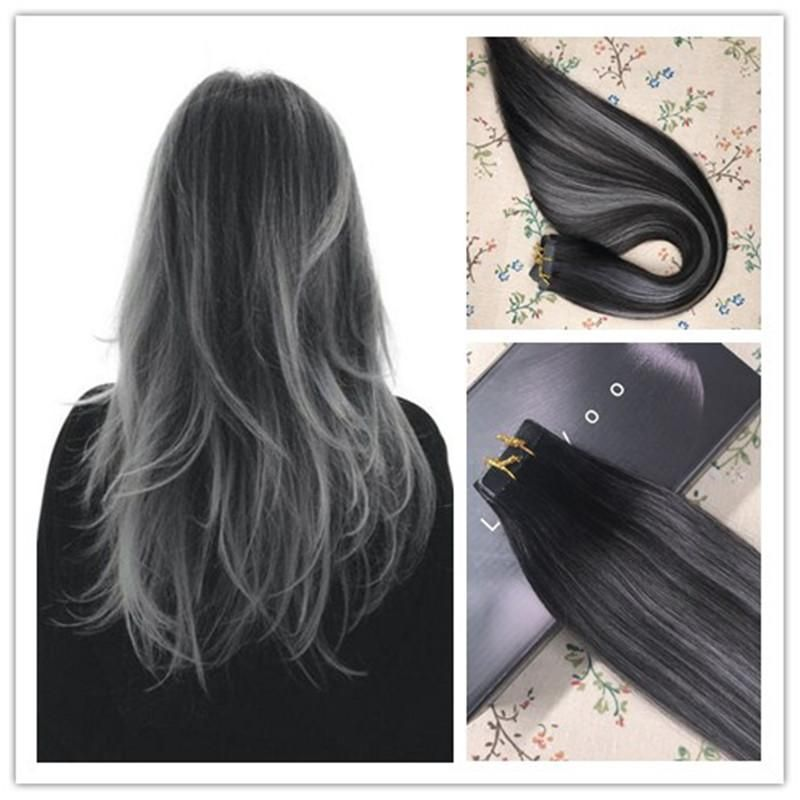 Tape In Remy Human Hair Extensions Balayage Ombre Color Off Black 1b