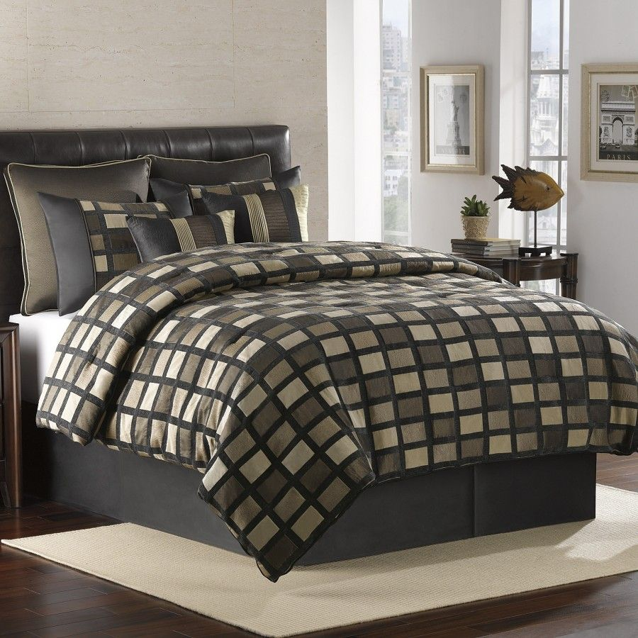 Royal Heritage Home Chenille Squares 8 Piece Comforter Set