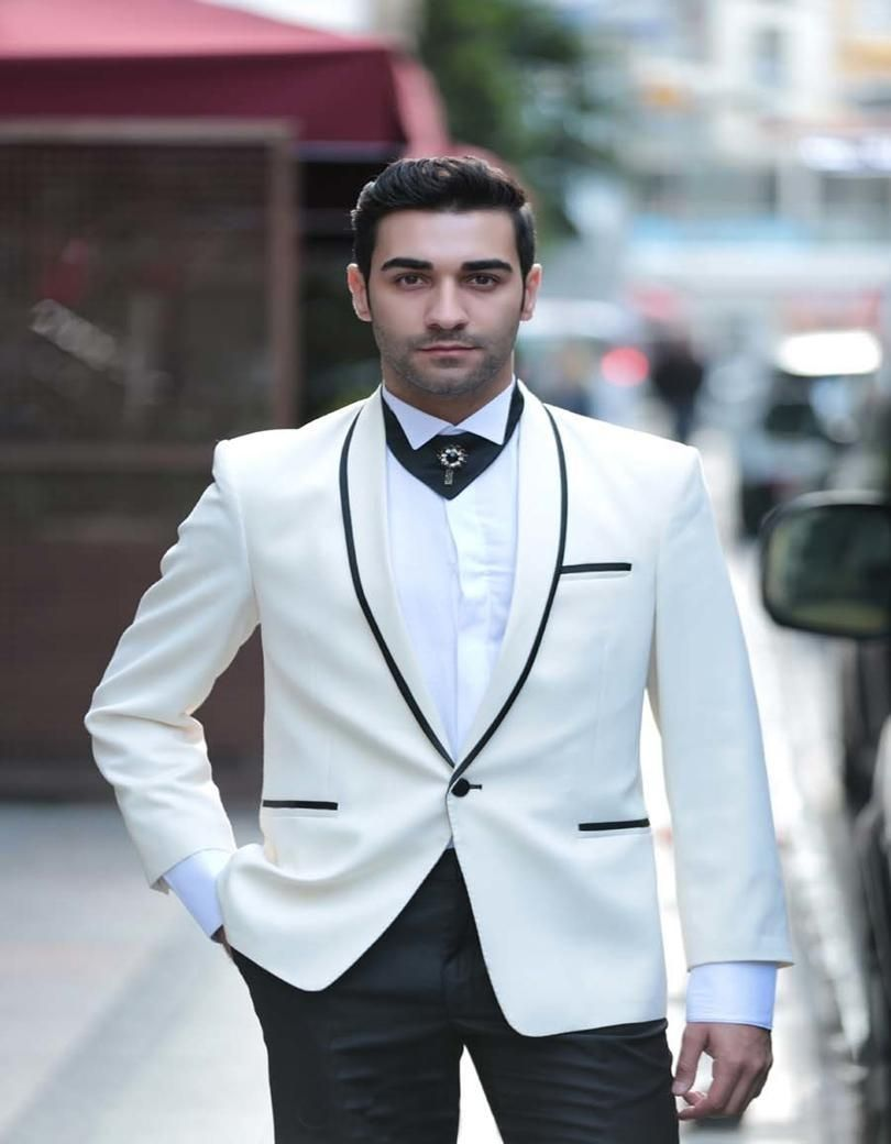 Custom Made White And Black Groom Tuxedos 2 Pieces Mens Wedding Prom ...