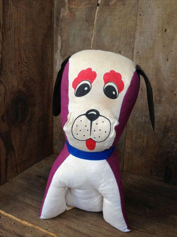 Carnival Toy Box Pink: Vintage Carnival Prize Styrofoam Stuffed Dog Purple Black