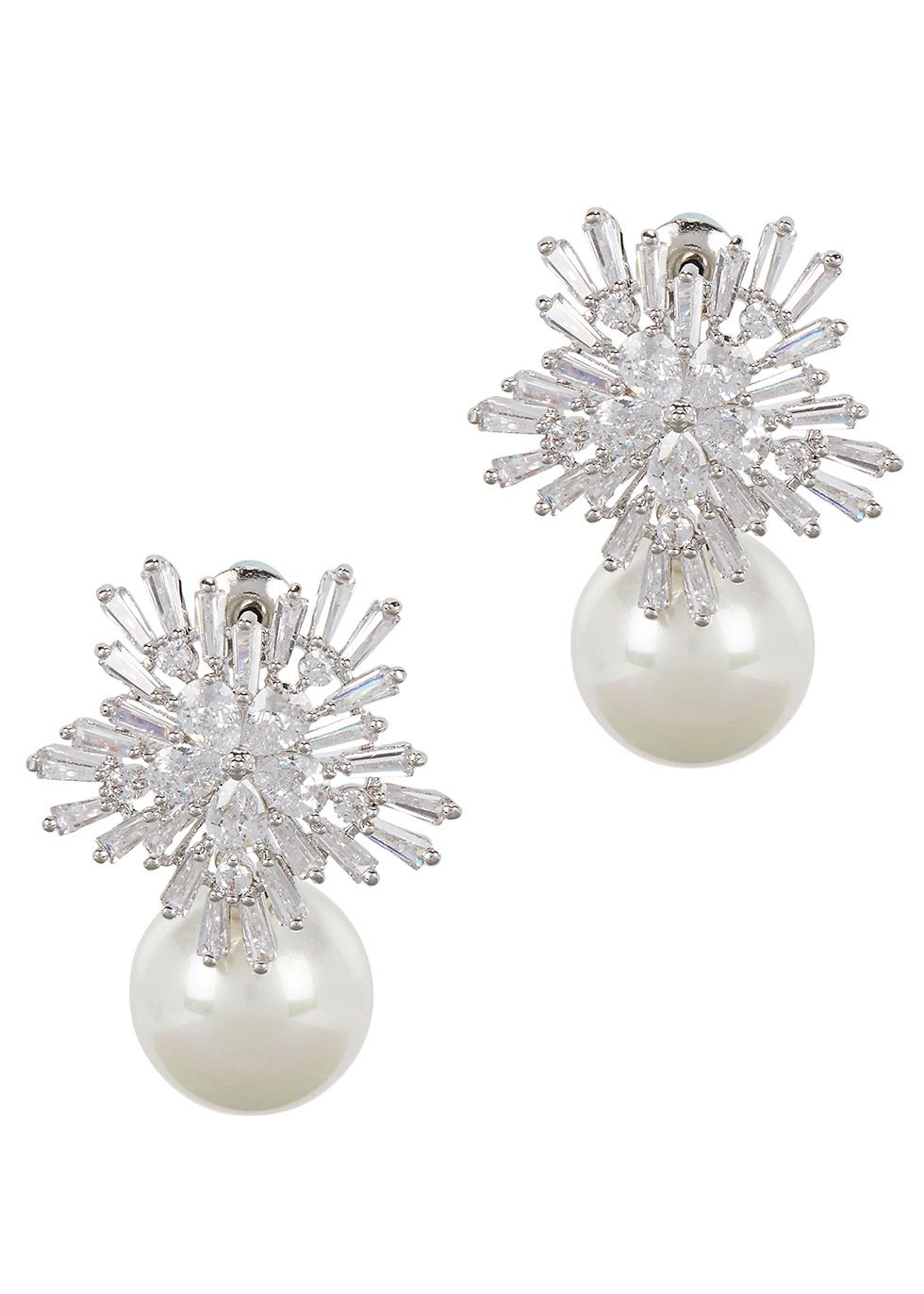 Uk Exclusive To Harvey Nichols Fallon Rhodium Plated Drop Earrings Cubic Zirconia Embellished Face