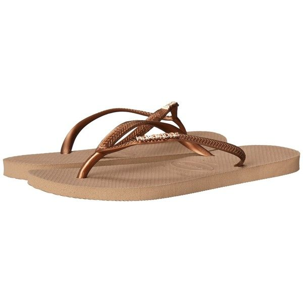 7415738a0ab549 Havaianas Slim Logo Metallic Flip Flops (Rose Gold Dark Copper)... ( 32) ❤  liked on Polyvore featuring shoes