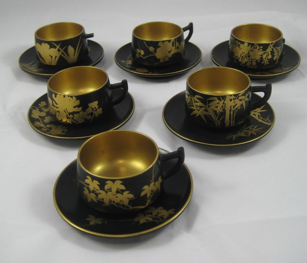 Royal albert bone china tea cup amp saucer winsome pattern ebay - Details About Vintage Japanese Wood Lacquered Demitasse Cups Saucers Set Of 6 Ea Black Gold