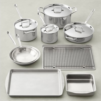 All Clad D5 10 Piece Cookware Set 4 Piece Essential Bakeware Set