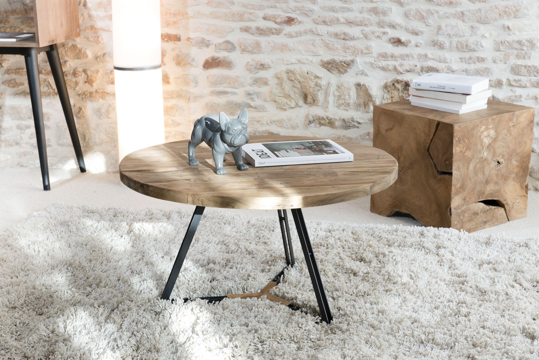Table Basse Ronde En Teck Recycle Et Pieds Metal Noir Et Bois D75xh41cm Swing Table Basse Table Basse Ronde Table Basse Bois
