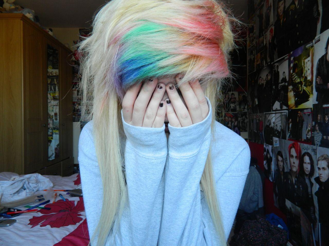 Rainbow bangs hair u beauty pinterest bangs scene hair and