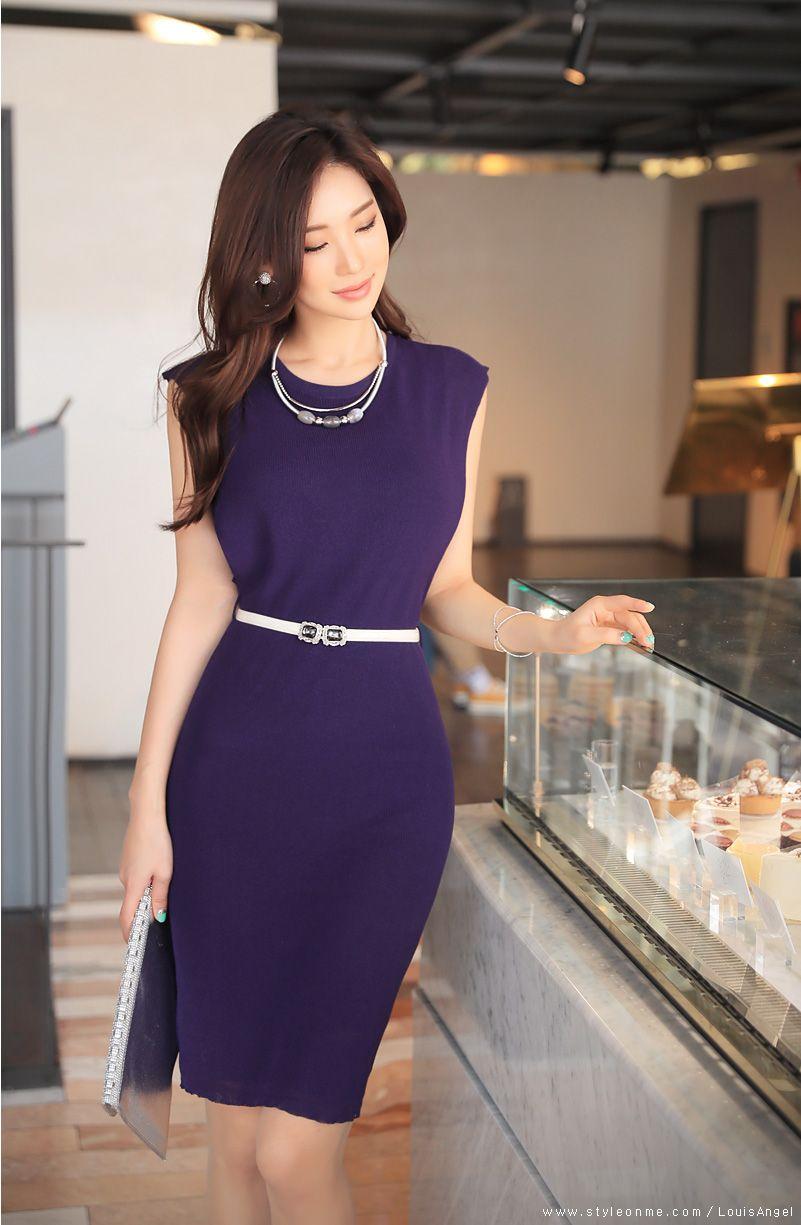 심플리 벨트셋 슬리브리스 원피스 | Vestidos para oficina, Vestido ...