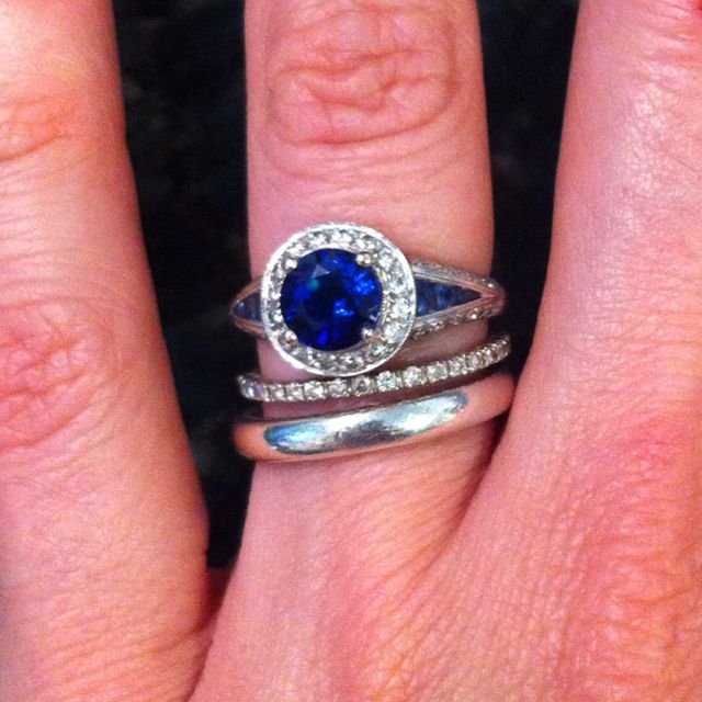 Left Hand Stack Faycullen Engagement Ring And Wedding Band Davidyurman 3mm Midnight Melange Smooth