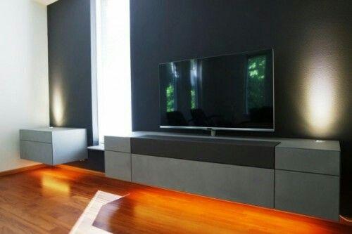 Kast Onder Tv.Avs 200 Zwevende Soundbarkast Met Rvs Tv Systeem Voorzien Van Led