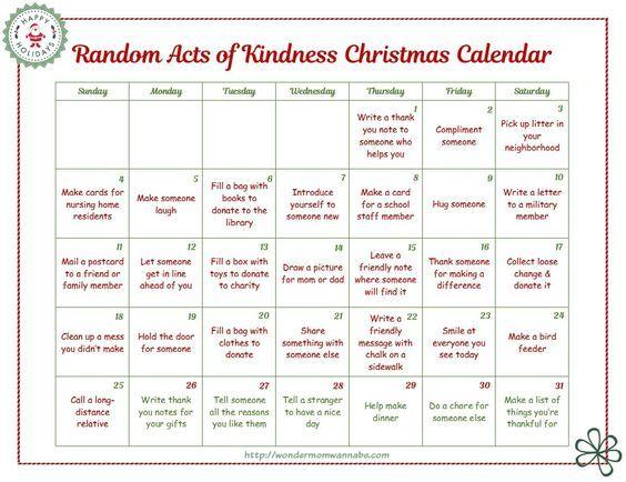 random-acts-of-kindness-calendar for Kids presentations Pinterest