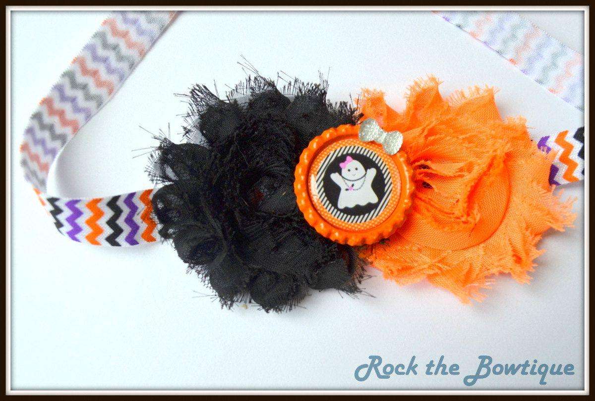 ghost orange black flower headband happy halloween fun chevron skull