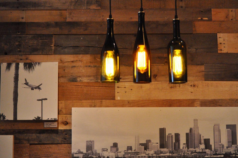 3 Wine Bottle Pendant Lamp Hanging Lamp Track Light Edison Lightbulb.  $210.00, Via Etsy