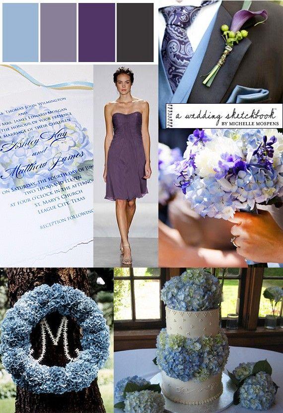 Light Blue Purple Graphite Gray Hydrangea Wedding Inspiration