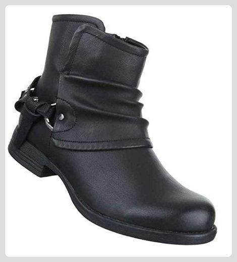 Damen Stiefeletten Schuhe Boots Schwarz 38 Stiefel für