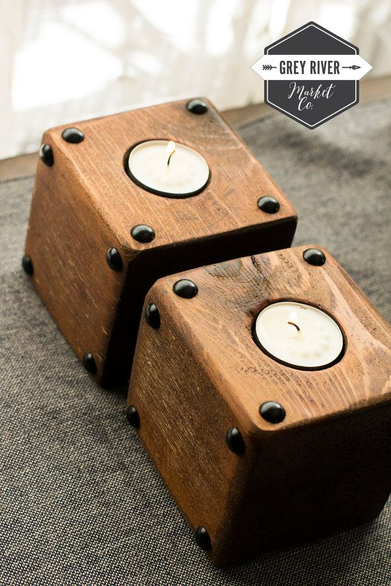 Small Square Wooden Candle Holder 4 Petite Wooden Candle Holder