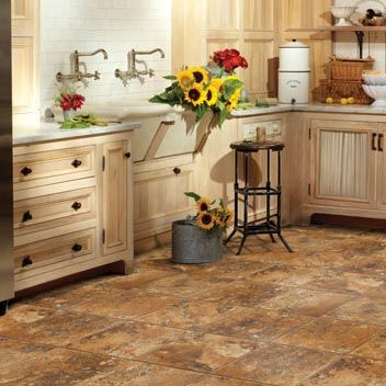 Kitchen: Warm Toned Stone Floor