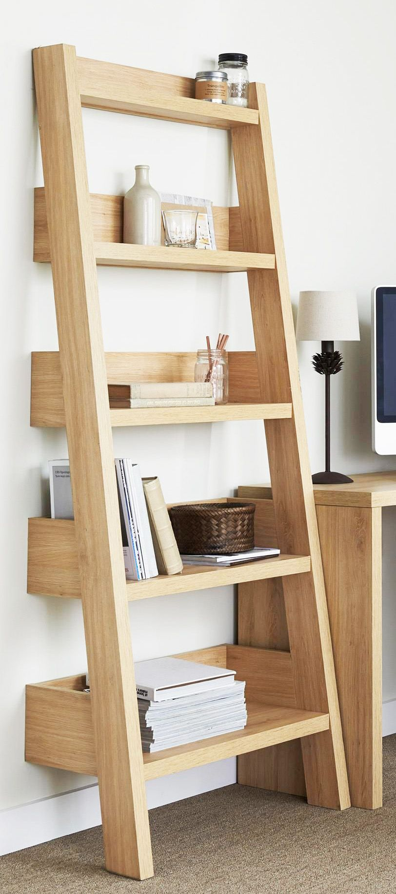 roma oak leaning shelf