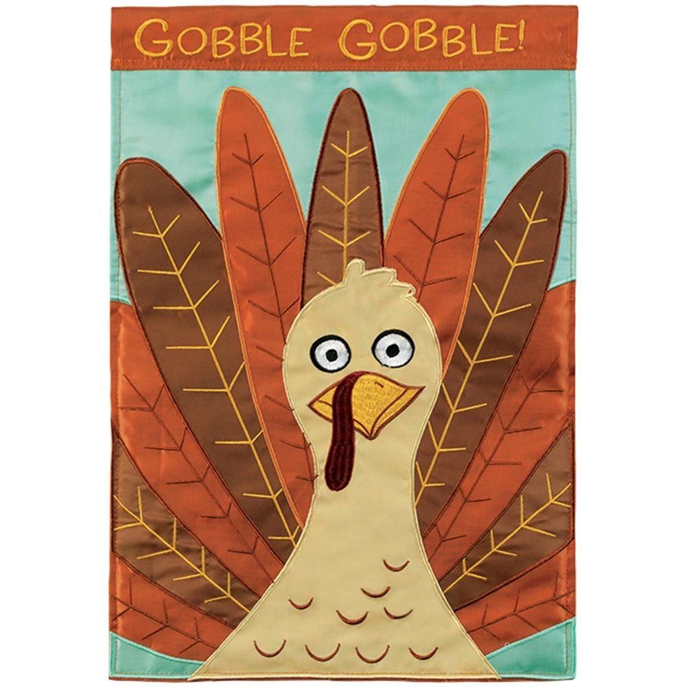 New Carson Garden Flag Embroidered Thanksgiving Turkey Gobble Till You Wobble