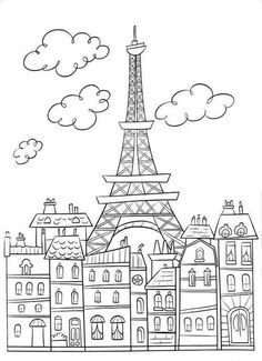 Coloring Page Eiffel Tower Movie Background Set