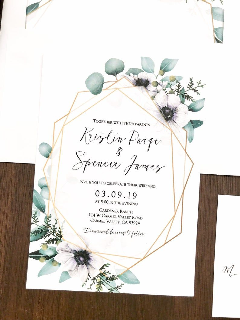 Geometric Wedding Invitation Set Floral Wedding Invitation Etsy Floral Wedding Invitations Industrial Wedding Invitations Wedding Invitation Sets