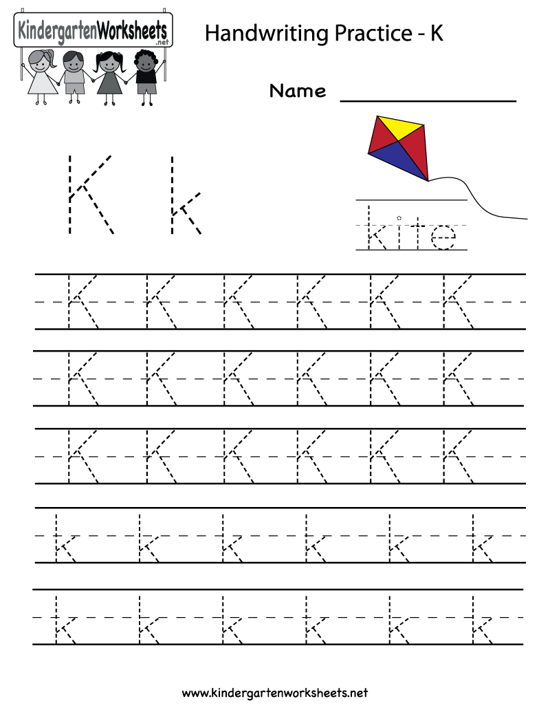 Kindergarten Letter K Writing Practice Worksheet Printable | K is 4 ...