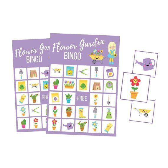 Garden party printable birthday game Spring flowers BINGO cards family game night for kidsbingo