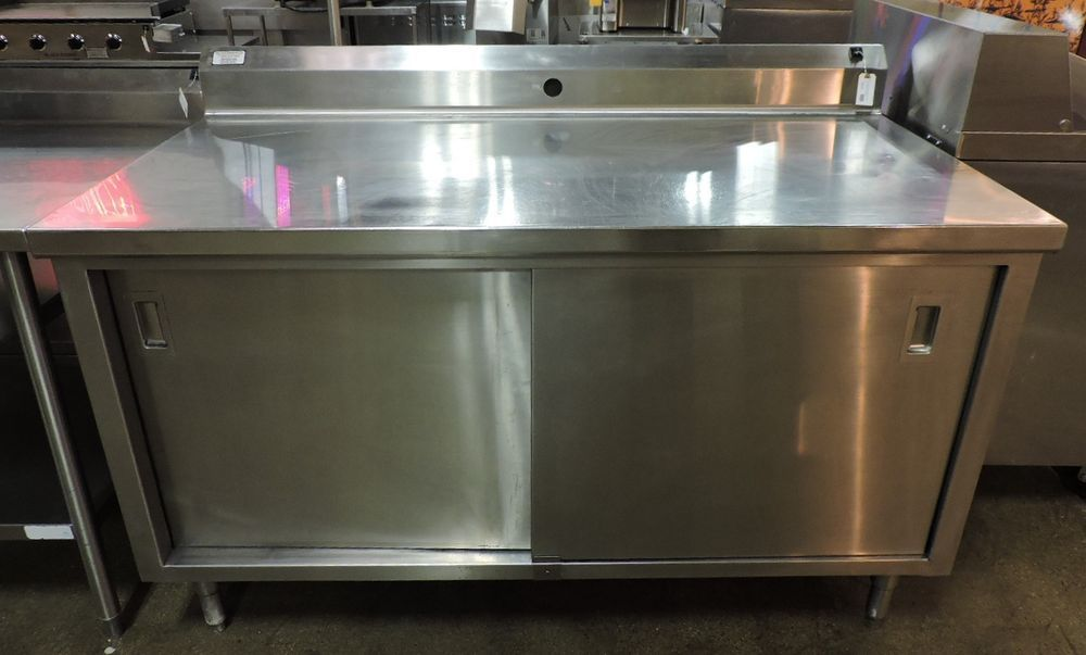 Stainless Steel Work Table With Cabinet Base 2 Sliding Doors And