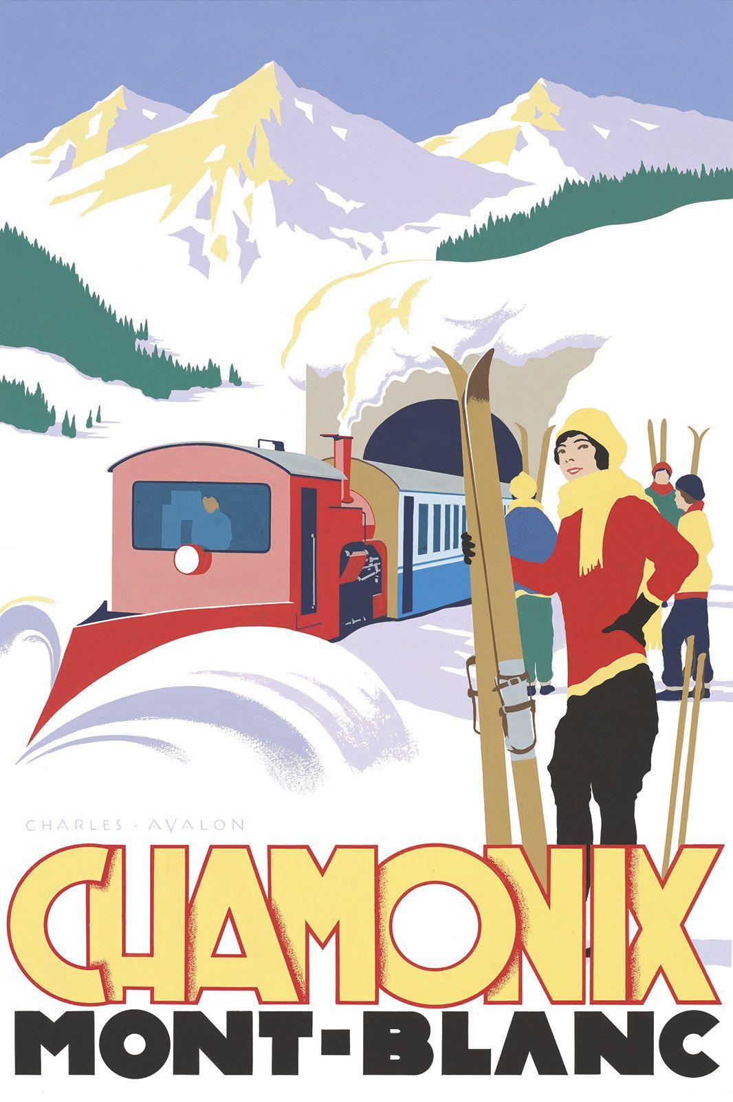 PEL121: 'Chamonix: Ski Train' - by Charles Avalon - Vintage travel posters - Winter Sports posters - Art Deco - Pullman Editions