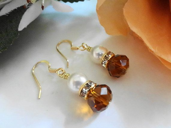 Smoked Topaz Crystal Swarovski White Pearl by DebraAnnCreations, $13.50 Might can make earrings like this for the girls?