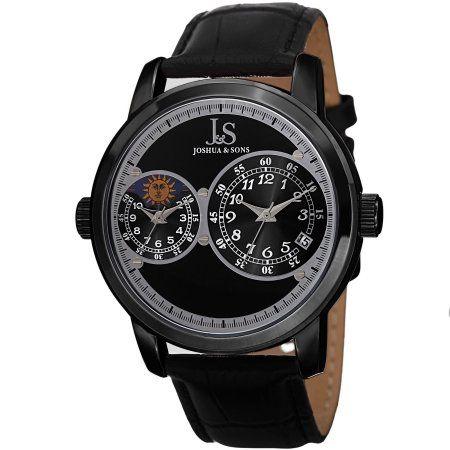 34bf85112 Joshua & Sons Men's Swiss Quartz Dual Time Zone Leather Black Strap Watch