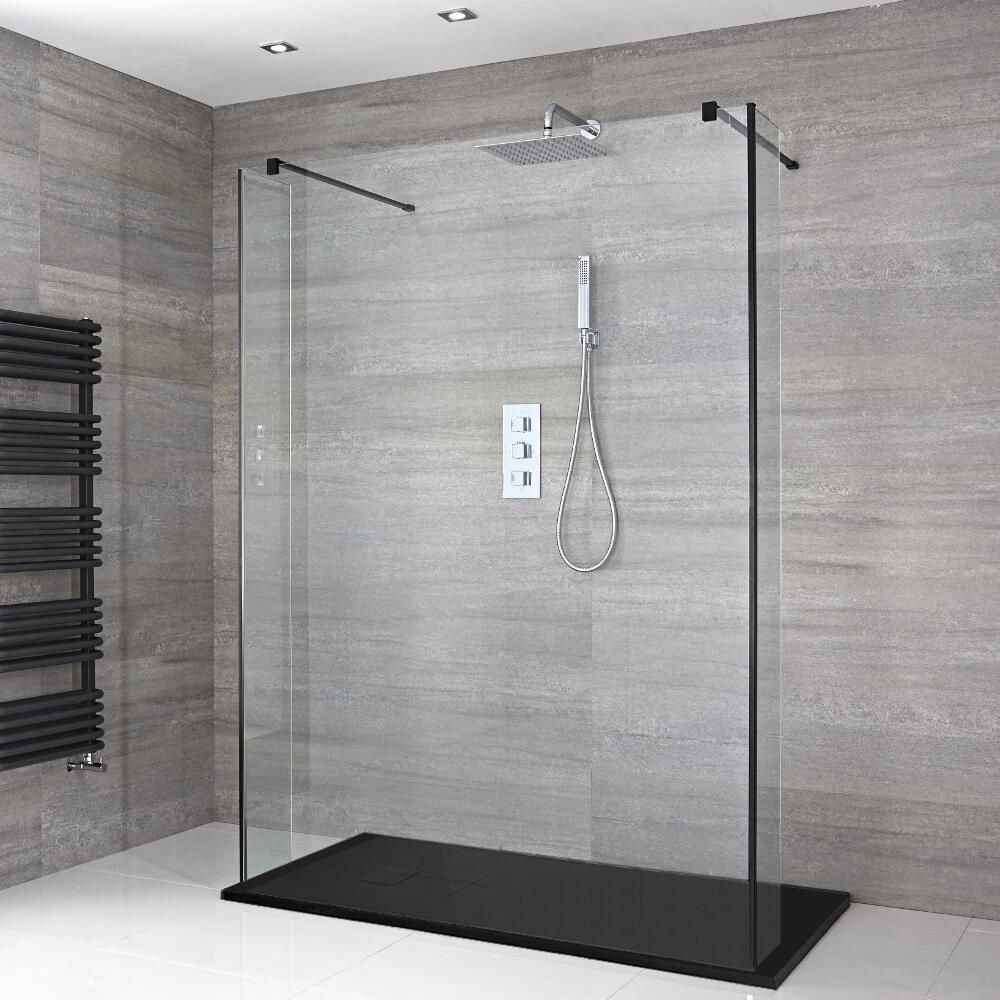 Milano Nero Floating Walk In Shower Enclosure With Slate Tray And Hinged Return Panels Choice Of In 2020 Walk In Shower Enclosures Walk In Shower Shower Enclosure