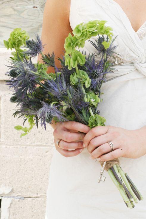 Bouquet Thistle And Bells Of Ireland Wisconsin Rustic Wedding Rustic Wedding Bouquet Rustic Country Wedding