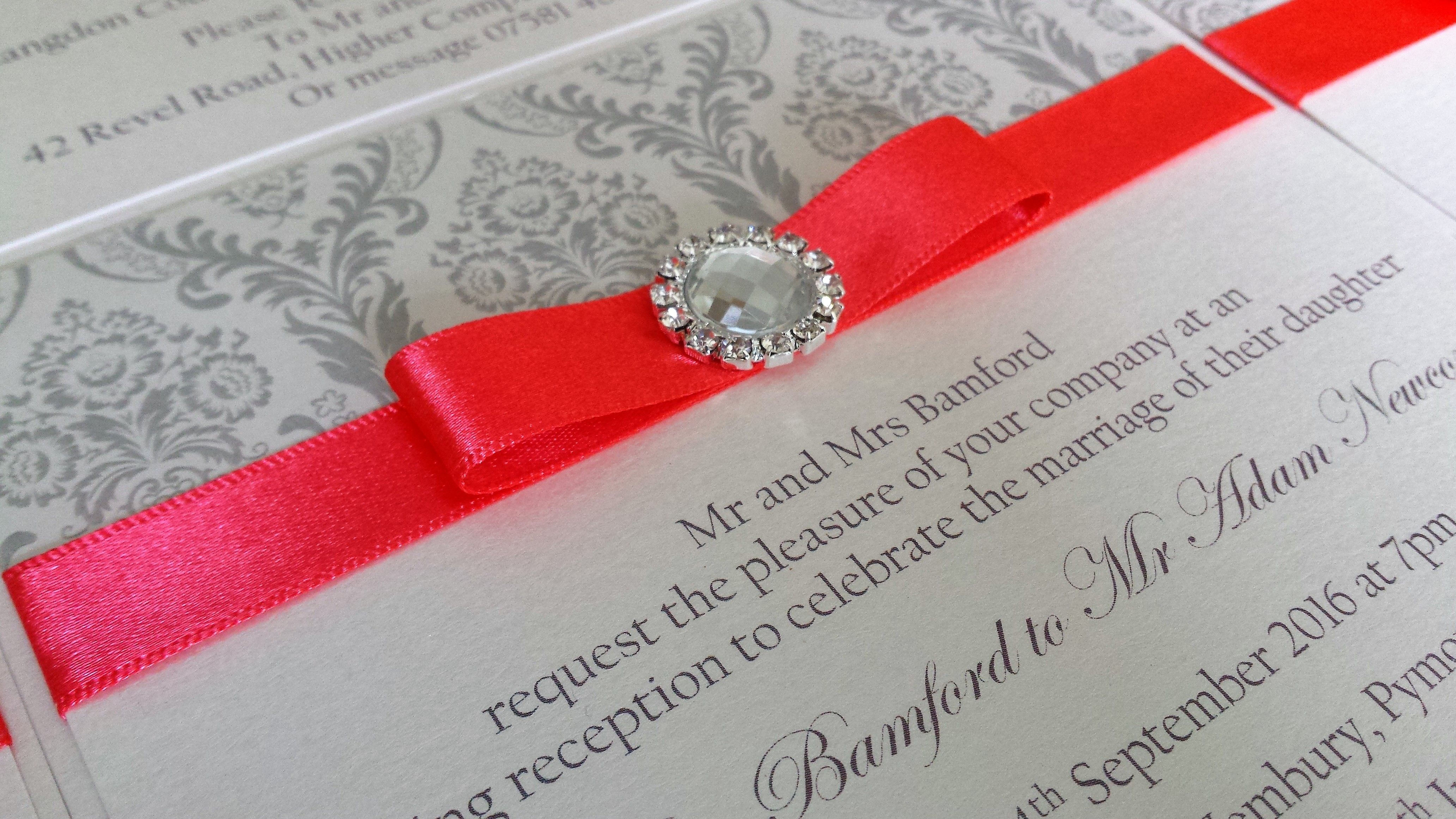 Personalised luxury wedding invitation with diamante paper | Flat ...