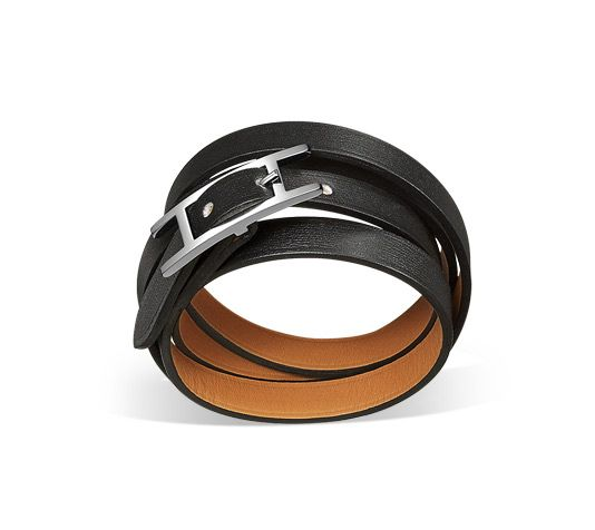 Hapi 3 MM Hermes leather bracelet (size MM) Black chamonix calfskin leather  Silver and palladium plated, 25.5