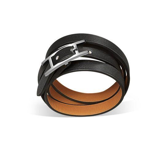 Bracelet cuir, plaqué argent et finition palladié (plusieurs tours)